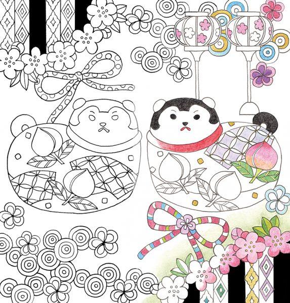 願いをこめて彩る大人のぬり絵 健康安全子どもの成長などを象徴